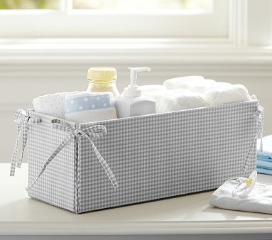 Love this changing table storage!  Gray Gingham Changing Table Storage #pbkids