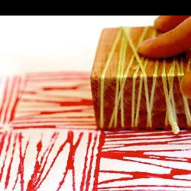 Creating printmaking matrices using common materials (yarn and wood block here) Pattern making