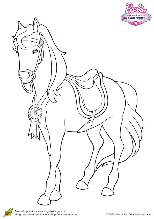 Dessin de Majectic, le cheval de Barbie avec sa médaille de champion, à colorier
