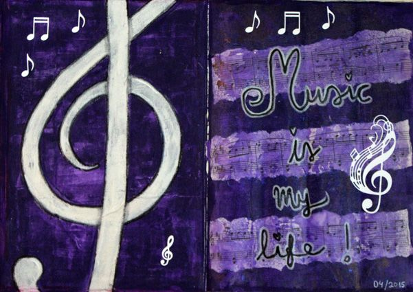 "Altered book spread (mixed media & art journal). ""Music is my life"". / Vanhan kirjan aukema. Aiheena ""Musiikki on elämäni""."