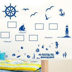 Fashion Mediterranean Style Pattern Photo Frame Wall Stickers For Home Decor