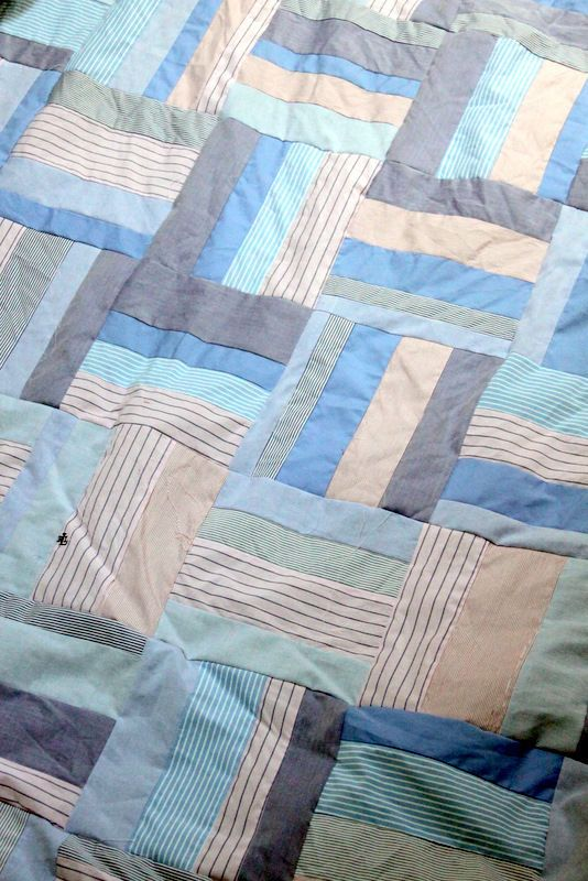 how fabulous is this idea... a quilt made from men's shirts… I like the rail fence block