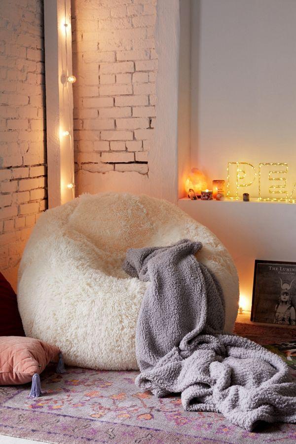 Minnie Faux Fur Inflatable Chair Bean Bag Chair Farm House Living Room Inflatable Chair
