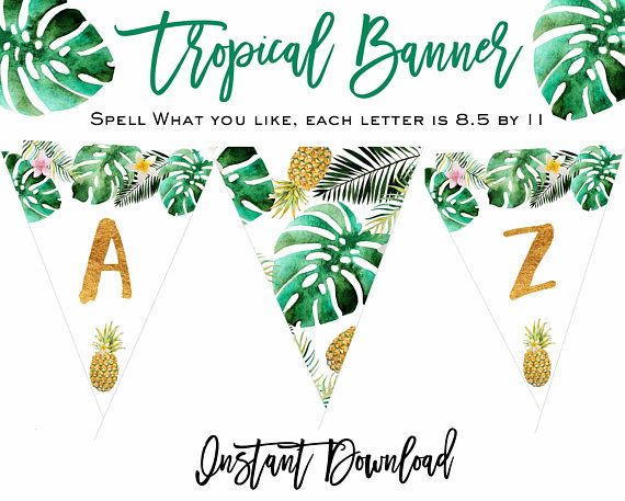bc8512aabc5b TROPICAL banner Tropical Birthday Party banner Tropical Baby Shower banner Pineapple  bridal shower banner Flamingo Luau Instant download