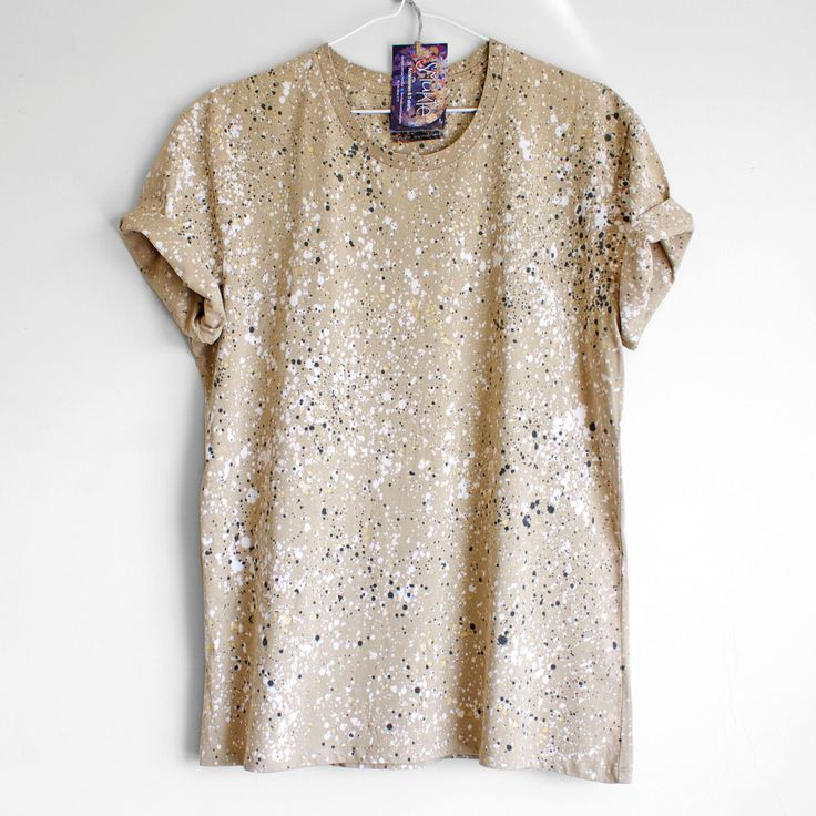 NATURAL SPECKLE. 100% cotton T shirt. Hand painted. Unique t shirts. Boyfriend / Free Fit t shirt. by Smukie on Etsy