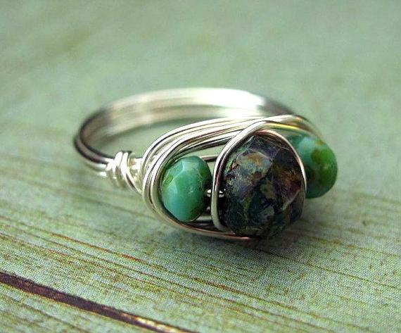 glass, green beaded ring