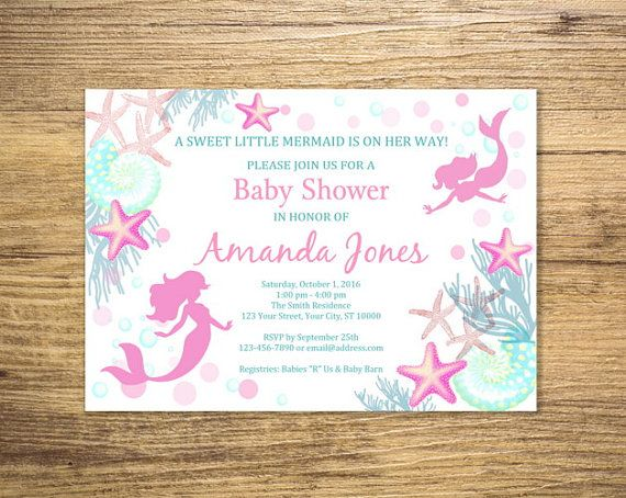 Invitación de ducha de bebé sirena sirena bajo el mar bebé