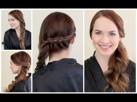 2 hairstyles pulled to the side. Great for wearing a hat.