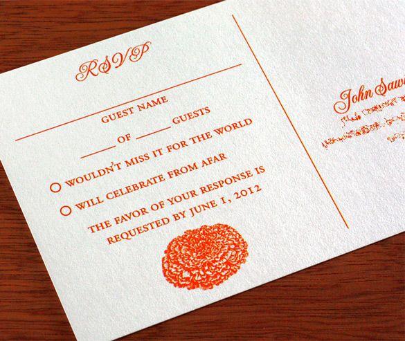 #Marigold wedding invitation, rsvp postcard style.