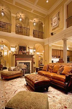 2 Story Living Room With Exposed Walkway On Second Floor Has Lovely Groin Ceiling Tuscandesign