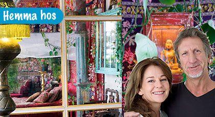 Med en kraftfull fläkt från Orienten har Daphne Strååt och Rolf Ullman skapat sin egen färgstarka oas till hem mitt i Stockholms Vasastan.