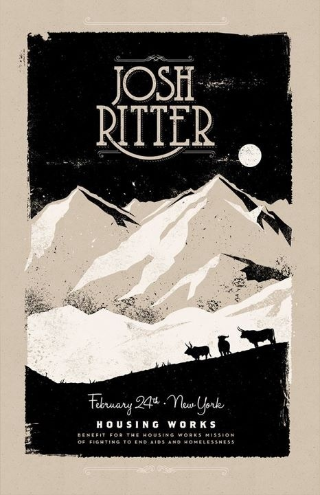 Charlie Wager's screenprinted poster for Josh Ritter's Housing Works show.