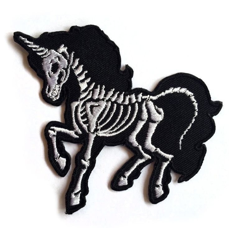 "Skeleton Unicorn Embroidered Patch! Measures approx.: 3"" - 100% Polyester"
