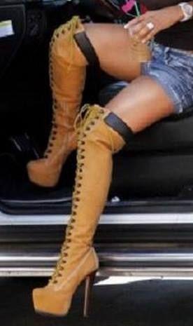 (116.10$)  Watch now  - Women Shoes Winter Fashion Round Toe High Heels Platform Knee-High Boots EU34-43 Large Size Shoes Women