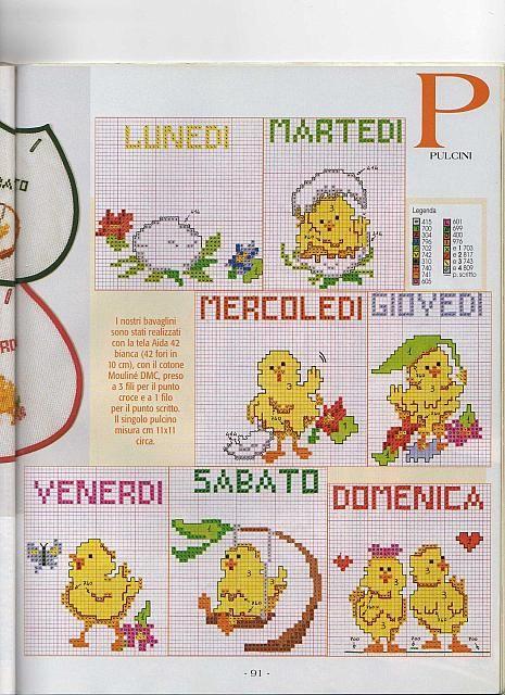 Bavaglini settimana pulcini 2 punto for Farfalle punto croce schemi gratis