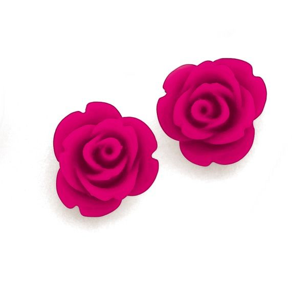 Sterling Silver 12mm Pink Rose Studs | Pascoes The Jewellers