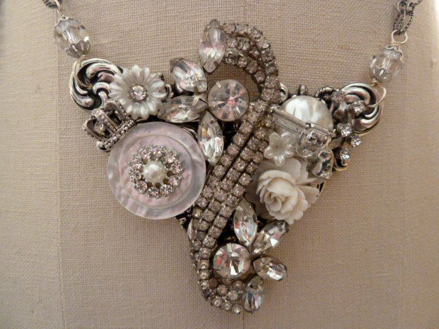 Beautifully placed collage necklace of appropriately repurposed and new-old elements from Tara Wilson of LuluMax.