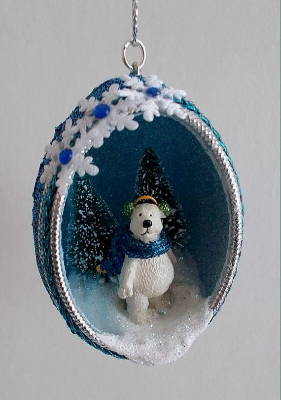Blue Winter Polar Bear Chicken Egg Ornament by HolidayEggs on Etsy