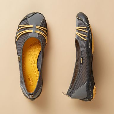 SPIN BAREFOOT SHOES -- Jambu™ kicks the classic ballet flat up a notch, with a nubuck and mesh upper, memory foam insole and flexible recycled rubber sole. Imported. Whole and half sizes 6 to 10, 11.