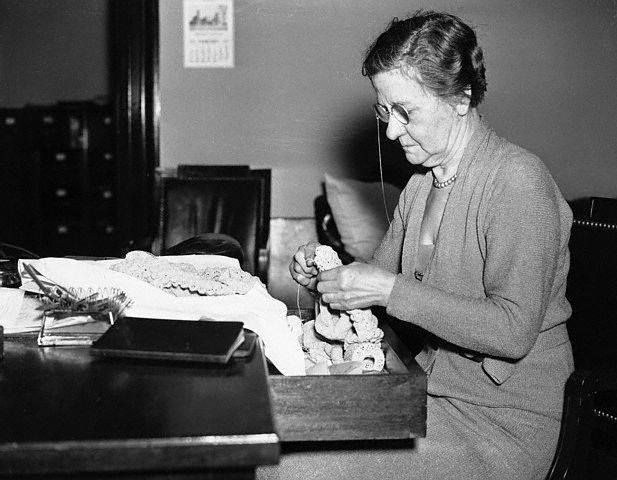 Mrs. John Nance Garner knitting. She was the wife of 32nd Vice President John Nance Garner from 1933 to 1941 in the Roosevelt Administration.