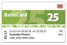 DB: Die BahnCard 25 - 25% Rabatt auf Flex- und Sparpreis