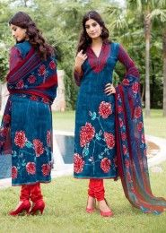 Casual Wear Blue Pashmina Printed Churidar Suit