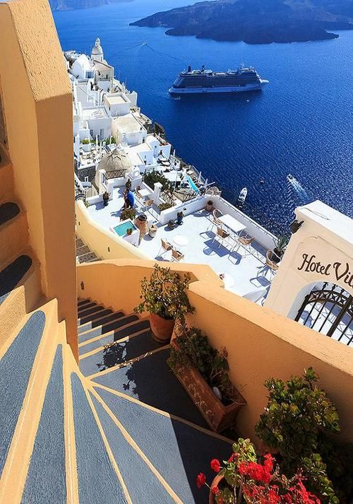 Steps to the Sea, Santorini, Greece photo via jamas Travel to Greece today! http://www.wimco.com/villa-rentals/europe/greece/