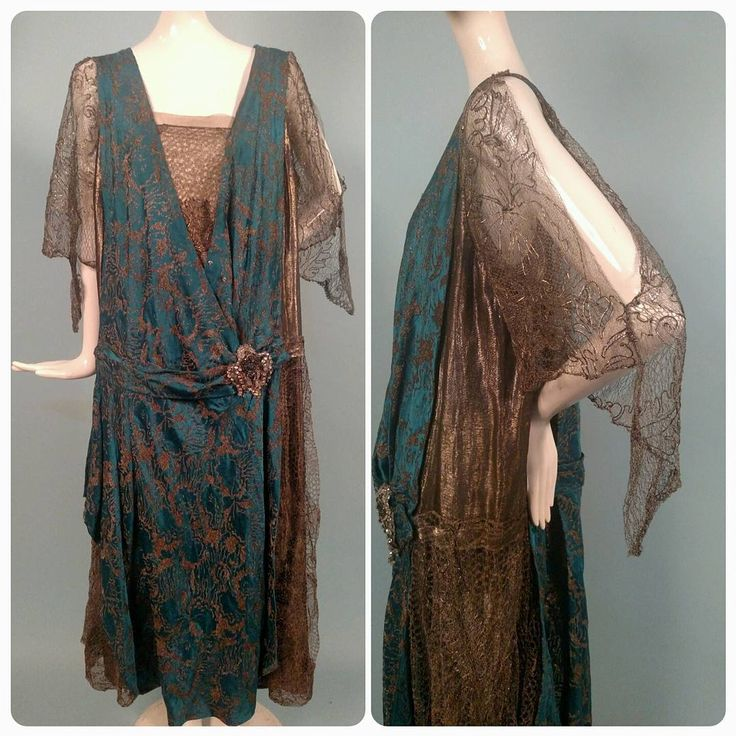 1920s Lame Brocade Dress w Lame Lace