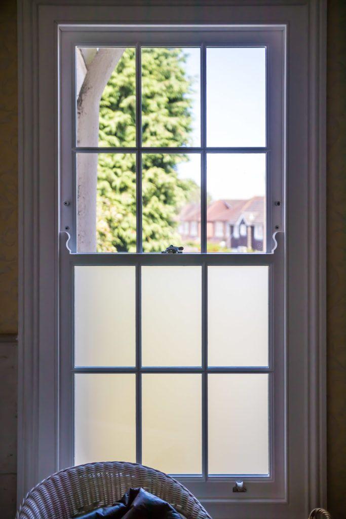 Georgian Box Sash Window Half Frosted Glass Half Clear Frosted Window Design Sash Windows Window Glazing