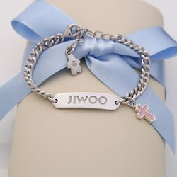<strong>Baby Christening</strong> - Silver Baby ID Bracelet (Pink Cross Charm) with Lobster Claw Clasp, 6 1/3""