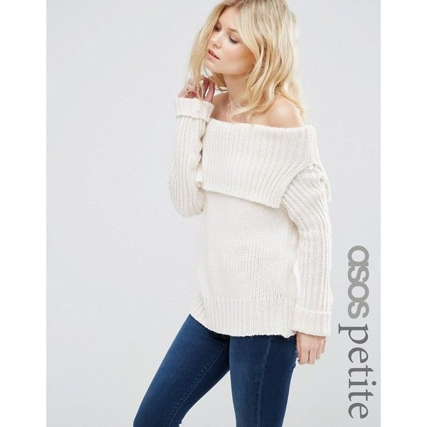 ASOS PETITE Jumper with Off Shoulder Detail (26.600 CRC) ❤ liked on Polyvore featuring tops, sweaters, cream, petite, asos, asos sweaters, off the shoulder sweater, cream top and off the shoulder tops