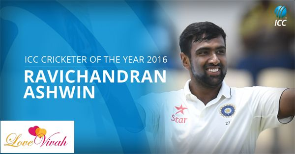 Congratulations! India's #RavichandranAshwin is #ICC #Cricketer of the Year, winning Sir Garfield Sobers Trophy in #ICCAwards 2016...Team #LoveVivah