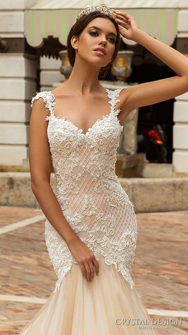 crystal design 2017 bridal sleeveless with strap sweetheart neckline heavily embellished bodice tulle fit and flare mermaid wedding dress low back royal train (solange) zv
