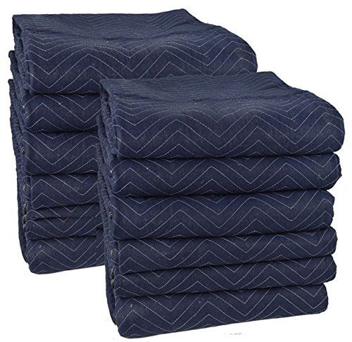 Discounted Cheap Cheap Moving Boxes 72 x 80 Inches Pro Moving Blankets, Pack of 12, Blue/Black (MB104)