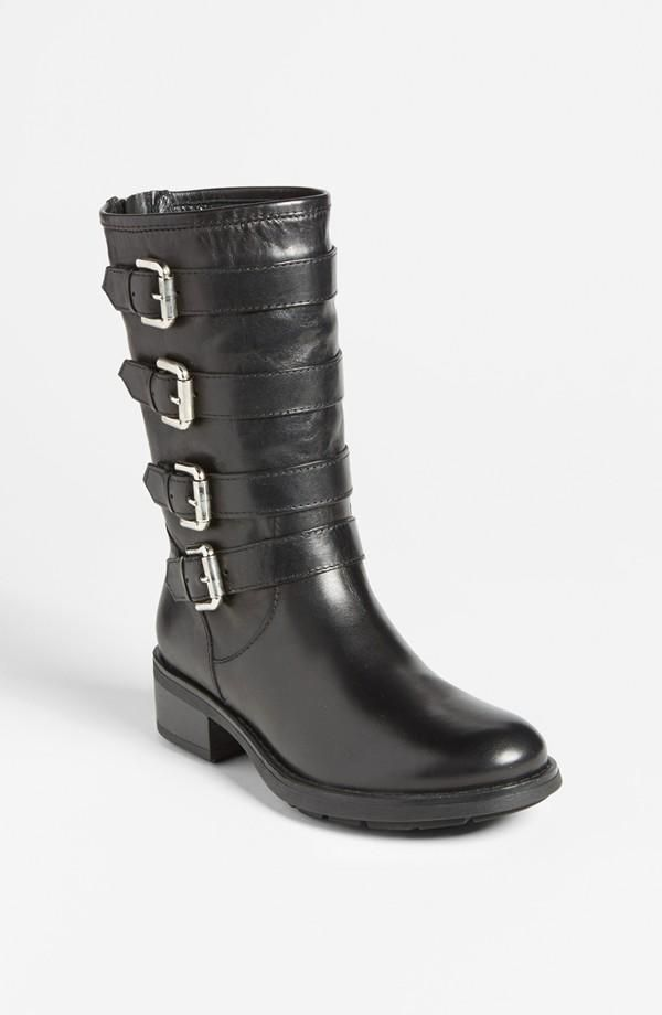 Black buckle up boots