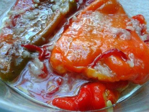 Печёные перцы в маринаде, очень вкусная закуска!