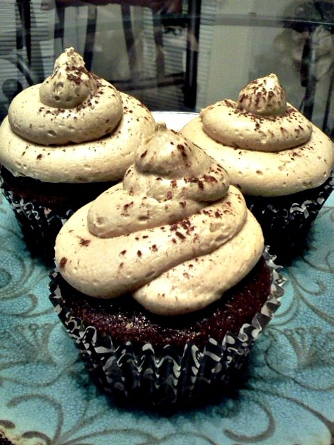 Custom Order: Frappuccino Butter Cream Frosting with Dark Chocolate cupcakes .