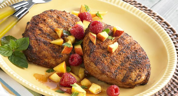 Spice-Rubbed Pork Chops with Summertime Salsa: Grilled pork chops are seasoned quickly and perfectly with Grill Mates® Pork Rub. The pork chops are served with colorful, summery salsa made...