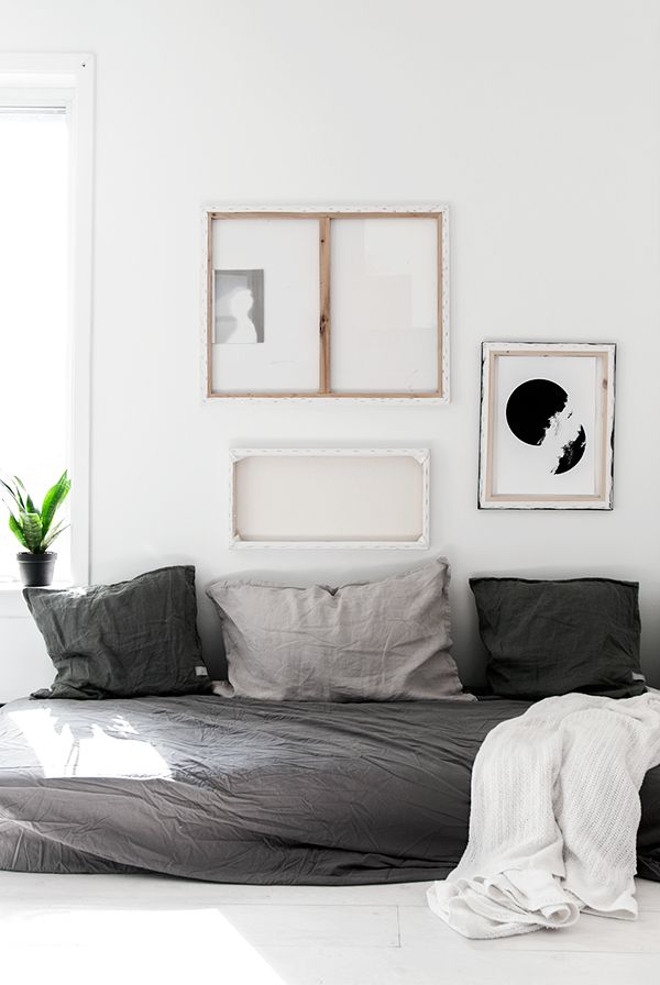 TanDan shirts | (my) unfinished home grey linen sheet mix diy sofa back to front canvas art