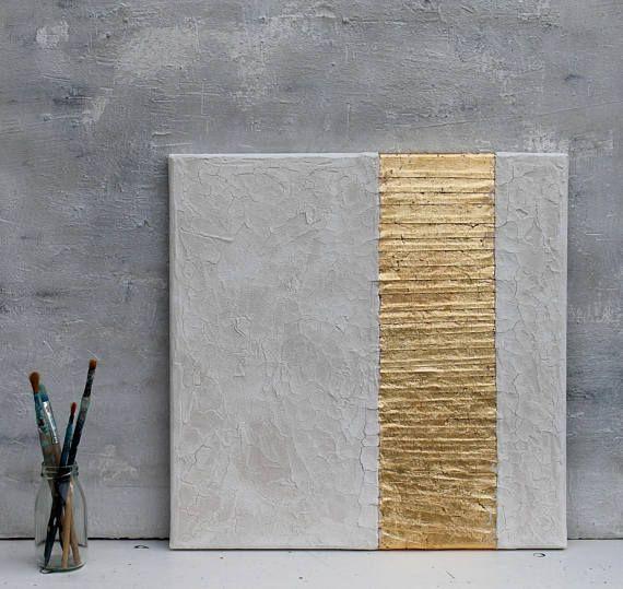 Feuille D Or Peinture Blanche Peinture Abstraite Décor De