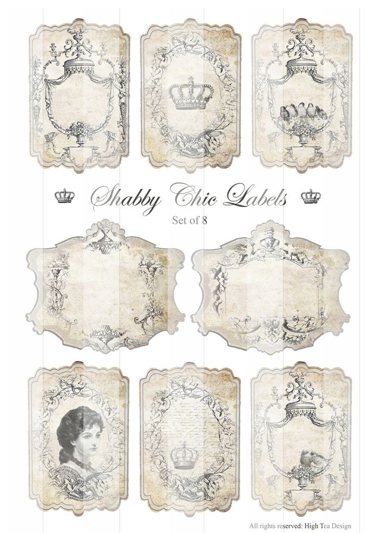 SHABBY CHIC LABELS - Gift Tags - Epherma - Hang Tags - Digital Collage Sheet. $4,00, via Etsy.