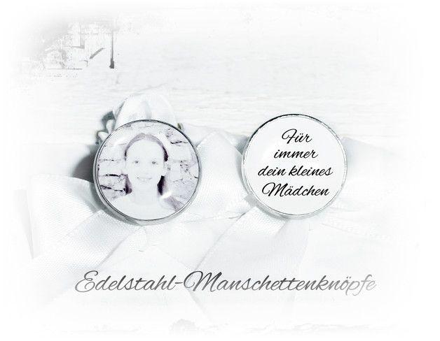 **Edelstahl-Manschettenknöpfe mit ihren persönlichen Foto,Text. Personalisierte silberfarbige Manschettenknöpfe mit ihren Foto, Text: Für immer dein kleines Mädchen Ein tolles,persönliches...