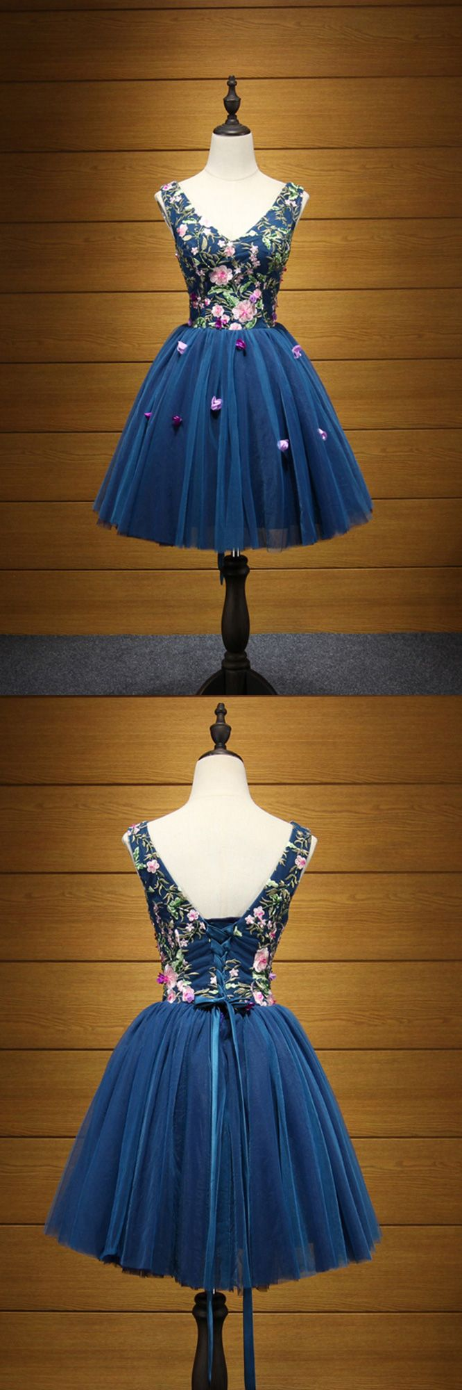 Beautiful Ink Blue V-neck Short Prom Dress for Formal, click to view more ideas!