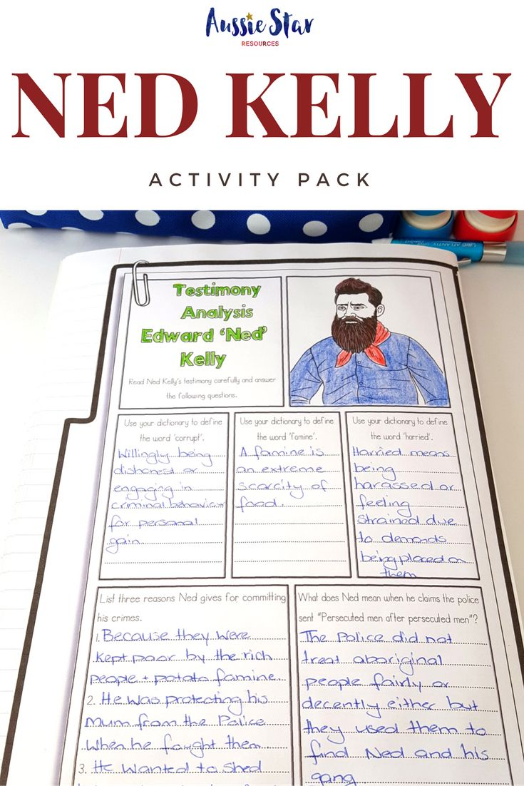 With over ten activities and 40 pages, this is the ultimate Ned Kelly teaching resource for your Australian History lessons Ned Kelly is an Australian legend the ultimate Aussie larrikin. People love to hear the stories of his run-ins with police, his ability to avoid capture and his determination to bring to light the corruption of police and the wealthy elite. At Aussie Star we create teaching resources especially for Australian upper primary students. Check out our store now.