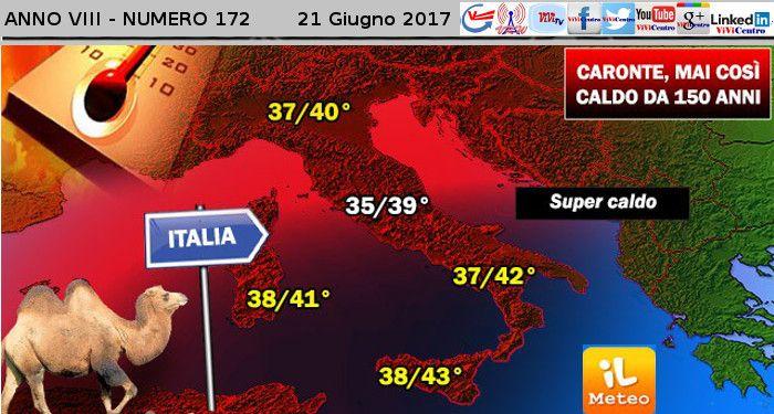 Caronte dei record: tra poco picchi di 42°C