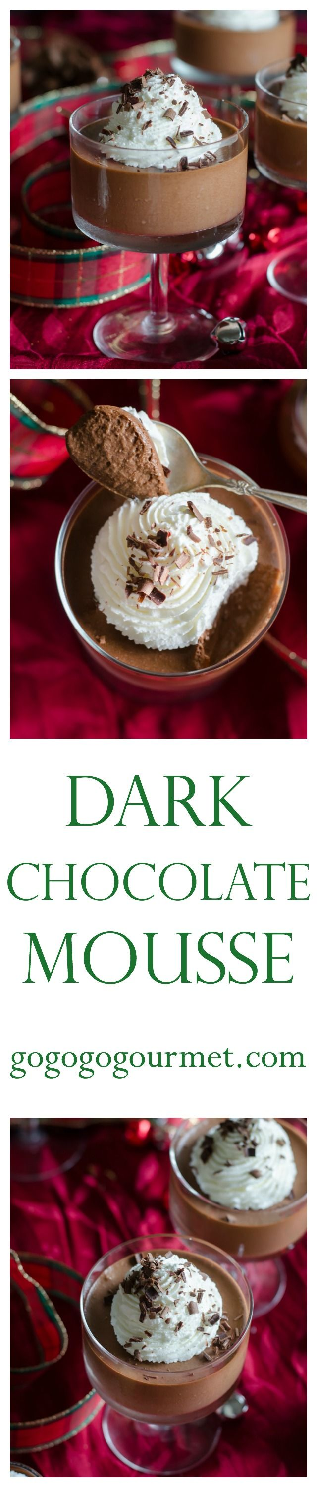 Smooth, velvety and easier than you'd expect, this dark chocolate mousse is a sure showstopper at your holiday parties. Dark Chocolate Mousse   Go Go Go Gourmet @gogogogourmet