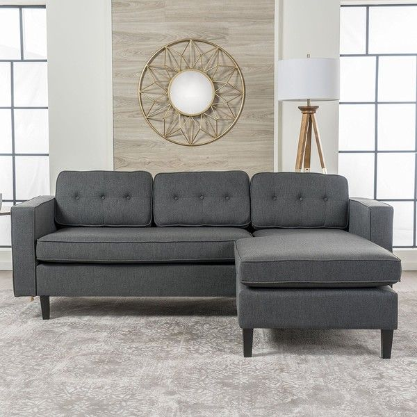 Windsor Living Room 2 Piece Chaise Sectional Sofa Scandinavian, Mid... ($650) ❤ liked on Polyvore featuring home, furniture, sofas, upholstered sofa, fabric sofas, charcoal grey couch, charcoal gray sofa and dark gray couch
