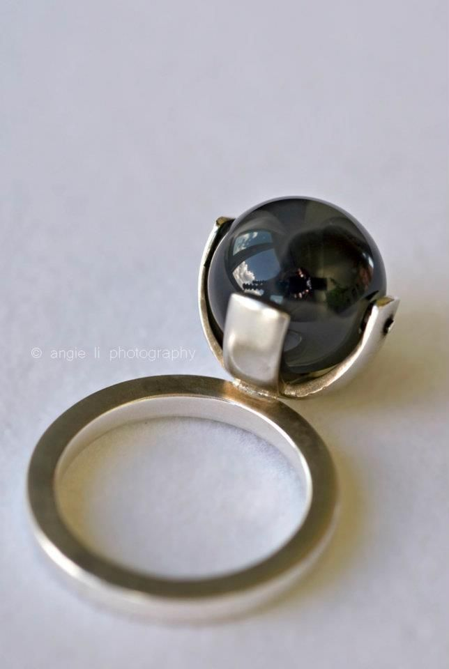 925 recycled silver ring, agate; manufactured