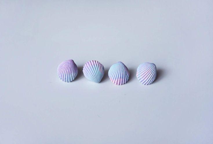 Earrings with pastel  scallops. 1 pair. by iDOLLshop on Etsy