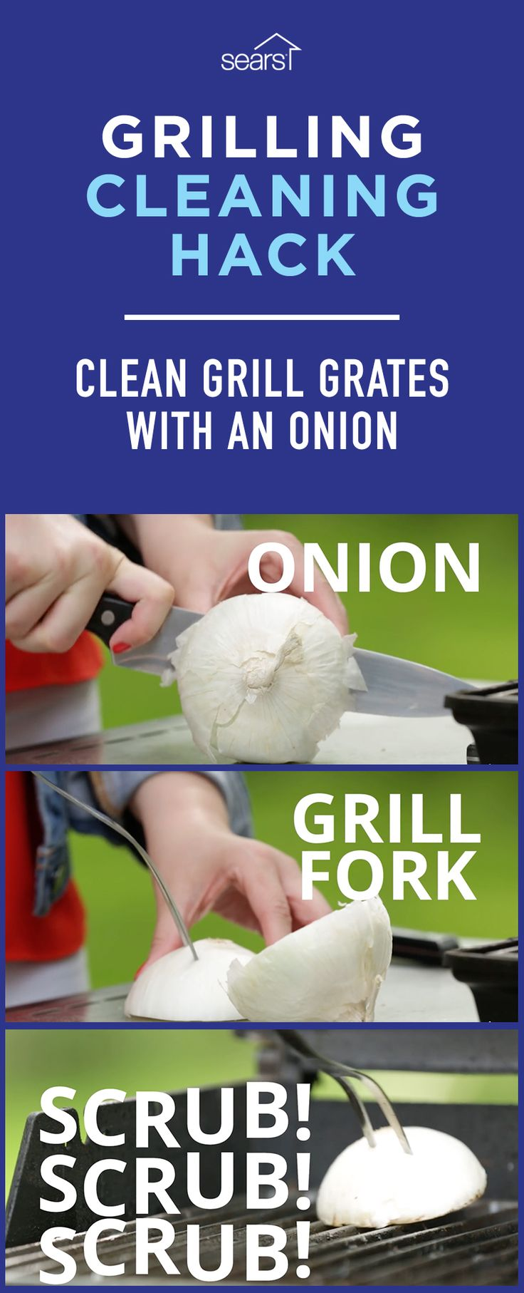 Grill Cleaning Hacks — Tested! We've test the popular grill cleaning hack of cleaning grill grates with an onion. To clean dirty grill grates with an onion follow these steps: Cut an onion in half, stick it with a grill fork and scrub grill grates while they're hot. Have you tried this grill cleaning hack? Visit the Sears Home Services Knowledge Center to watch the video and find out if this hack, and more grill cleaning hacks, actually work!